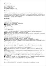 Resume Templates: Certified Crane Operator