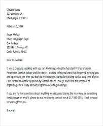 Thank Interview Letter 40 Sample Interview Thank You Letters