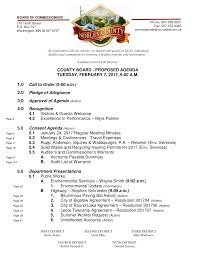 COUNTY BOARD - PROPOSED AGENDA TUESDAY, FEBRUARY 7, 2017, 9:00 A.M. 1.0  Call to Order (9:00 a.m.) 2.0 Pledge of Allegiance 3.0 A