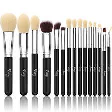 qivange makeup brushes synthetic cosmetics brush set with cosmetic bag 15pcs black silver
