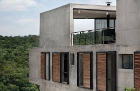 cool itahye house exterior decorated with concrete wall design ideas in rustic modern style for