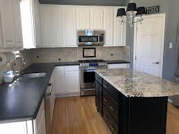 painted kitchen cabinets island white painted oak cabinets black