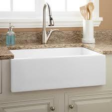 Apron Front Kitchen Sink White 30 Risinger Fireclay Farmhouse Sink Smooth Apron White