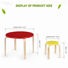 cute solid wood round kids table and chairs set furniture kg ikayaa cute load capacity