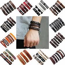 Women Men <b>Vintage</b> Punk <b>Leather Bracelet</b> Multi-layer Wristband ...