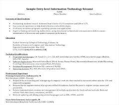 Entry Level Help Desk Resumes Information Technology Resume Sample Entry Level Information
