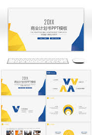 Blue And Orange Powerpoint Template Awesome Yellow And Blue Style Minimalist Business Plan Ppt