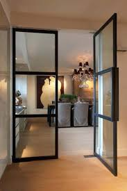 black metal glass doors with simple modern design door bookcase interior ideas
