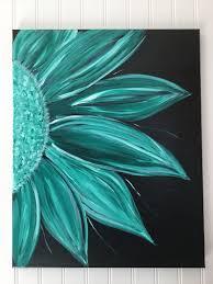 acrylic flower painting on black background