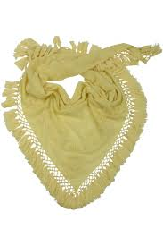 Light Yellow Bandana Cashmere Triangle Stole Handembroidered Light Yellow