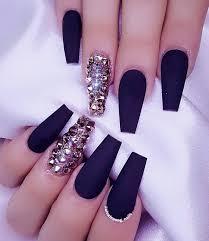 Black Coffin Shape Nail Designs Pin By Kim Norville On Matte Nails Black Acrylic Nails