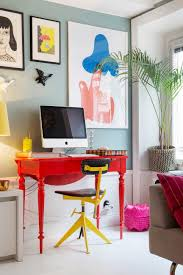 colorful home office. Small And Colorful Home Office With A Red Desk Yellow Chair. I