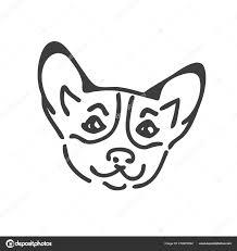 Corgi Dog Head Tattoo Design Corgi Head Silhouette Stock Vector