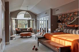 gray and orange bedroom. eclectic bedroom designed by b fein interior design. photo sgm photography. gray and orange .