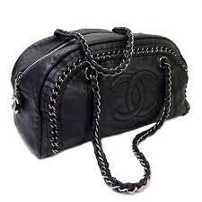 chanel black leather designer bowler bag
