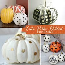paint a pumpkin with polka dot stencil patterns