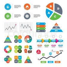 Hvac Chart Data Pie Chart And Graphs Hvac Icons Stock Vector