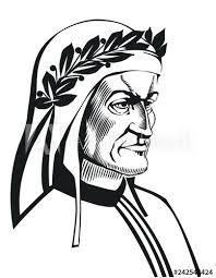 Dante Alighieri Vector Portrait Illustration Of Italian Poet Of The