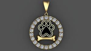 dog paw and bone 3d pendant with diamonds 3d printable 3d model stl 3dm 1