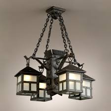 vintage ceiling lighting. Arts And Crafts 4 Iron Lantern Chandelier Vintage Ceiling Lighting T