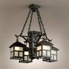 arts and crafts 4 iron lantern chandelier