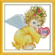 Angel Chart Us 5 1 49 Off Joy Sunday Cartoon Style Angel Baby Girl Easy Counted Cross Stitch Alphabet Chart For Beginners Handwork In Package From Home Garden