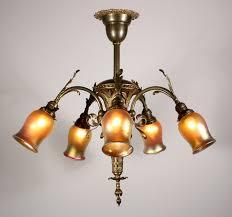 sold splendid antique five light louis xv chandelier with art glass shades