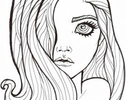 Tranquility Printable Adult Coloring Page Girl Catbook Etsy