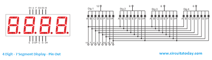 arduino and seven segment display interfacing 4 digit 7 segment display pin out diagram