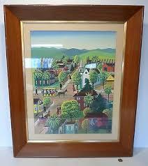 Albert Kramer - Folk Art Gouache on Paper Southern Town CALIFORNIA ARTIST  17x22 | eBay