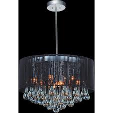 cwi lighting water drop 9 light chrome chandelier with black shade