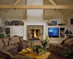 boston bookshelves next to fireplace with microfiber sofas and sectionals family room rustic painted ceiling sloped