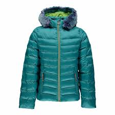 der kids turquoise faux fur hooded jacket