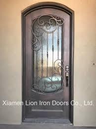 custom wrought iron interior door with rain glass