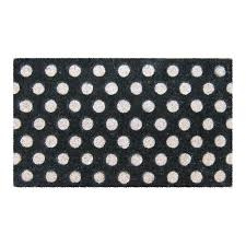 Entryways White Polka Dots 18 in. x 30 in. Hand Woven Coir Door ...
