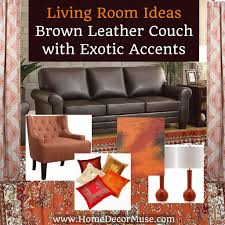 living room inspiration brown leather couch with exotic accents by home decor