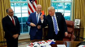 office meeting pictures. Donald Trump Given A Red Card By Fifa Boss In Oval Office Meeting Pictures