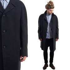 gray mens dark jacket 90s overcoat wool winter coat preppy outerwear luxurious monochrome long