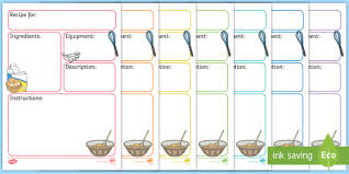 Cub Scout Meal Planning Chart Free Recipe Templates Teaching Resource Twinkl