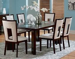 dining room sets have dining table sets 6 chairs white cushions wood frame above laminate wood floor use carpet around blue painted wall tips in searching