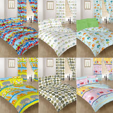 single double size duvet cover set curtains bedding polycotton children s kids