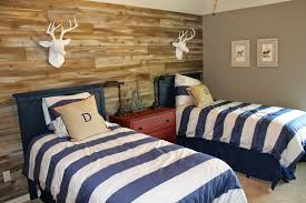 Modern Kids Bedroom Design Wood Feature Walls Woodland Themed Boys Room Shared Space Two