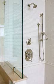 Small Subway Tile Bathroom Traditional with Chrome Fixtures Chrome Shower