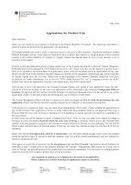 Recommendation Letter For Visa Application Cover Letter German Student Visa Plks Tk