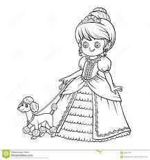 Libro Da Colorare Personaggio Dei Cartoni Animati Principessa Con
