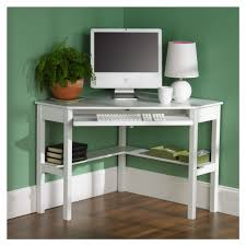 furniture contemporary white painted wood small corner computer desk dewcor with textured wood floor and green painted wall also cute white table lamp