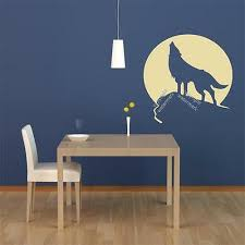 howling wolf on the moon wall sticker