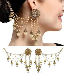 Long Heavy Earrings Design Aadita Bahubali Design Heavy Artificial Earrings With Hair Chain For Women