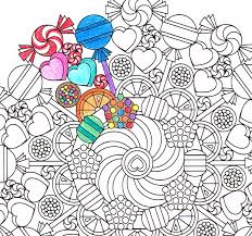 Small Picture Mandala Coloring Page Round of Sweets printable coloring