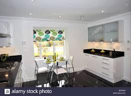 Kitchens With Granite Worktops Modern Show Home Kitchen With Black Granite Worktops Stock Photo